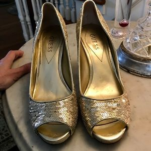 Guess Shoes - Guess Gold Sequins Peep Toe heels